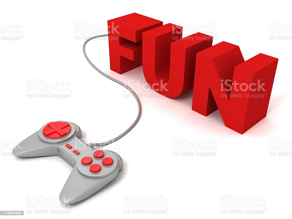 gray joystick red buttons with concept FUN text letters royalty-free stock photo