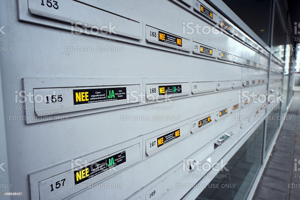 Gray letterboxes in a row stock photo