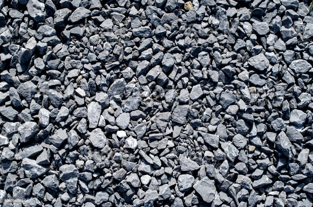 Gray limestone gravel closeup stock photo