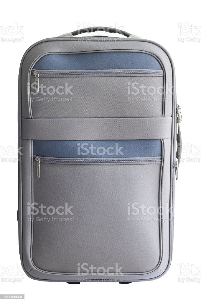 gray luggage on white background with clipping path stock photo