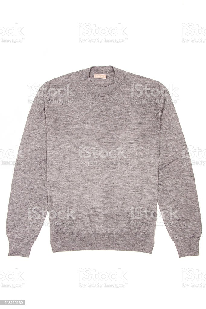 gray men's sweater on a white background stock photo
