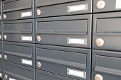 gray metal mail boxes