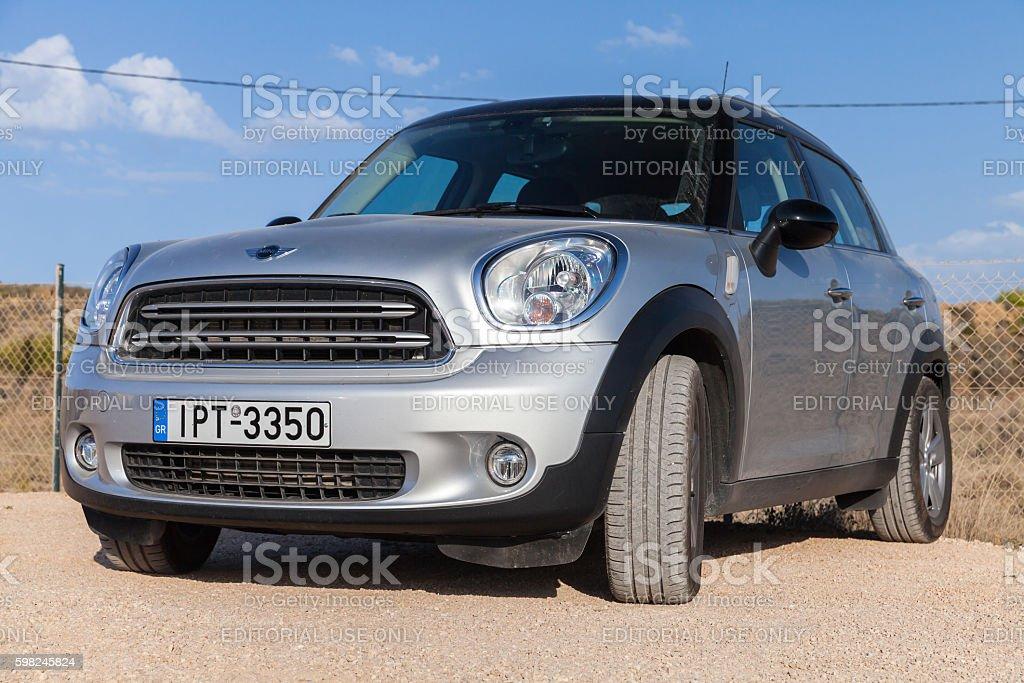 Gray Mini Countryman subcompact crossover stock photo