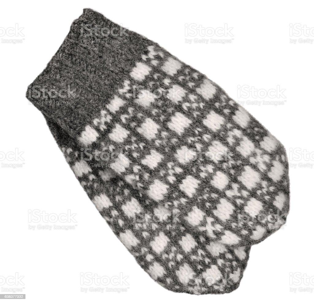 Gray mitten pair isolated, grey white textured woolen mittens closeup stock photo
