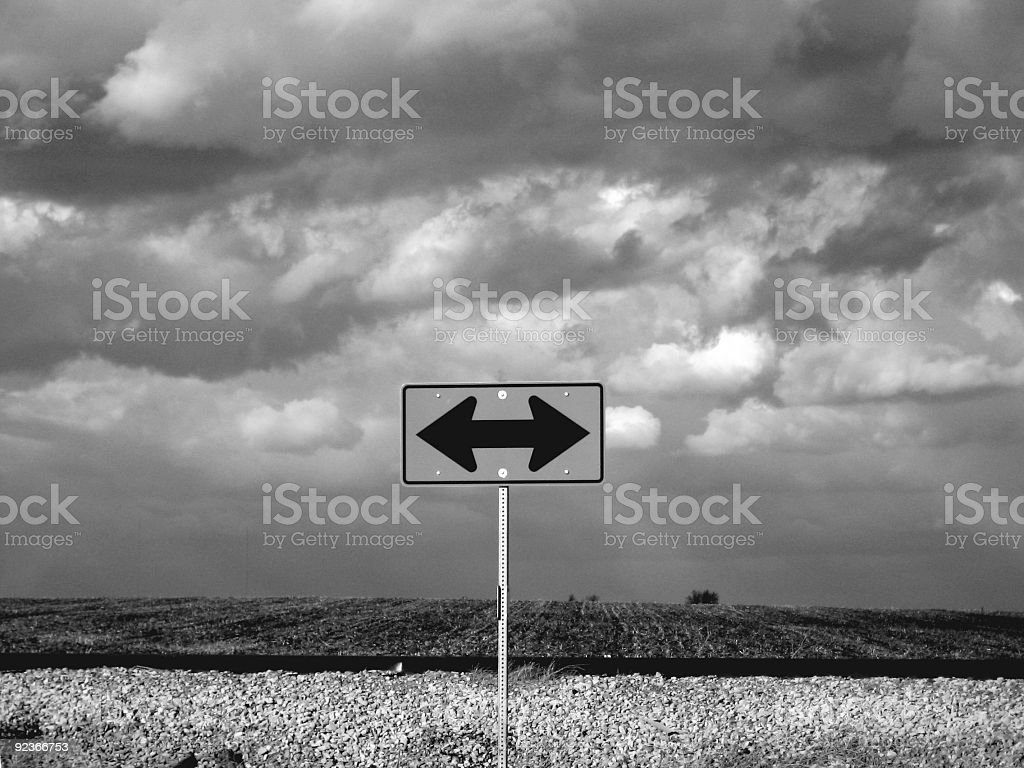 Gray Monochromatic landscape of isolated road sign stock photo