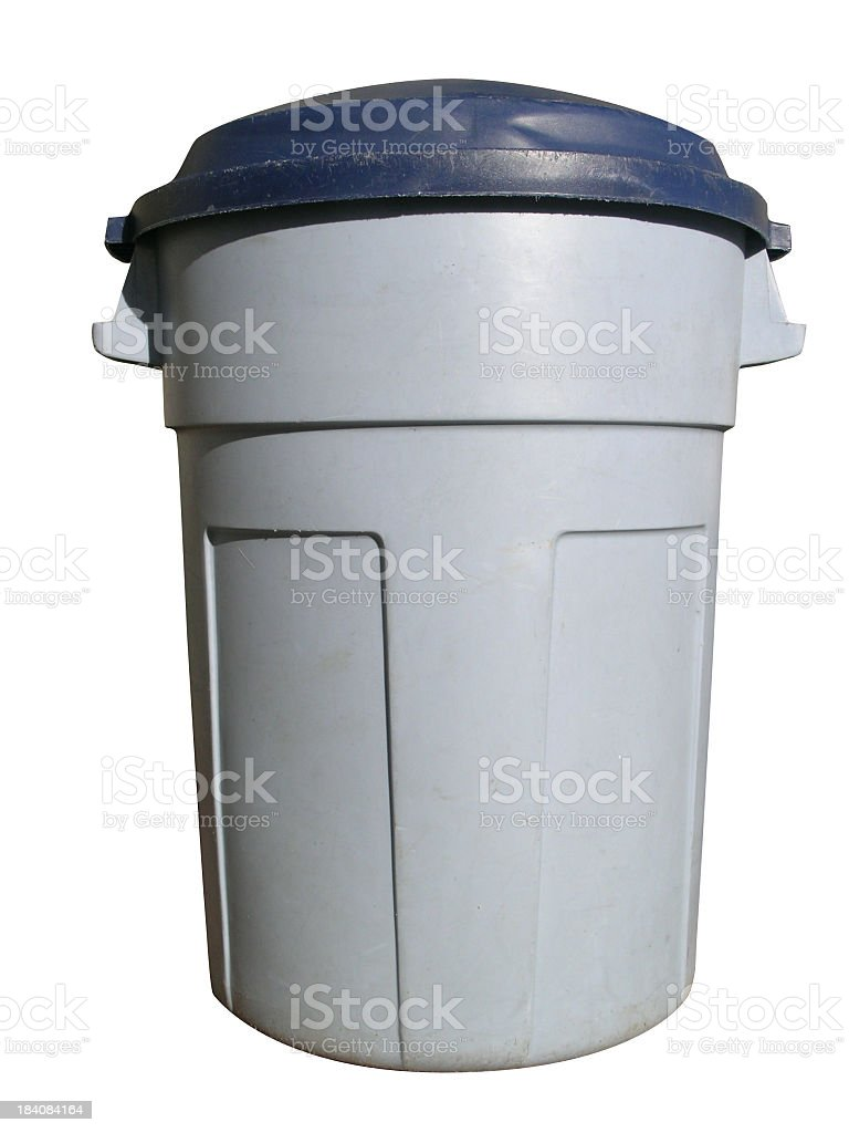 Gray plastic trash bin isolated on a white background stock photo