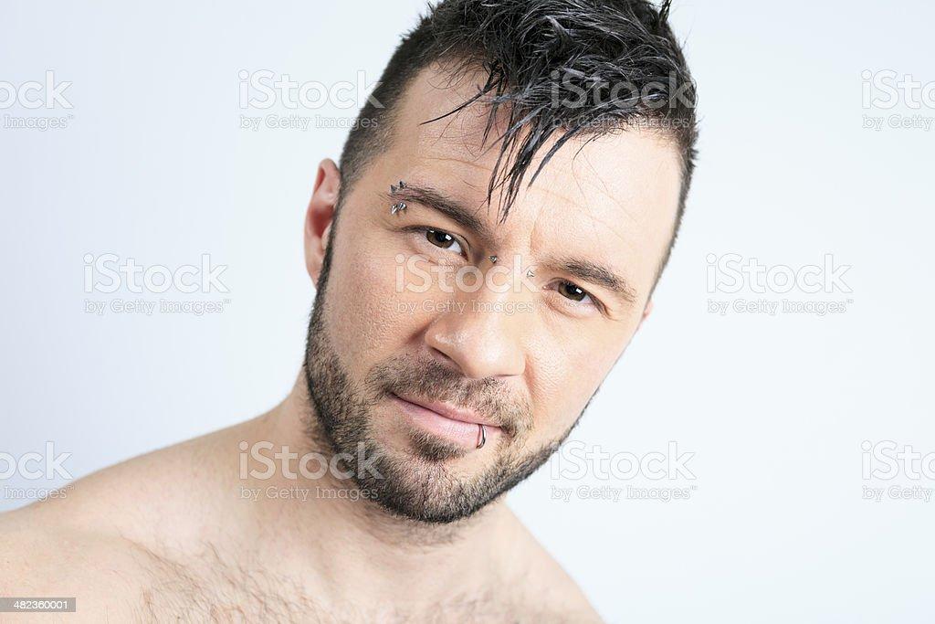 Gray Portrait Men - Hair stock photo