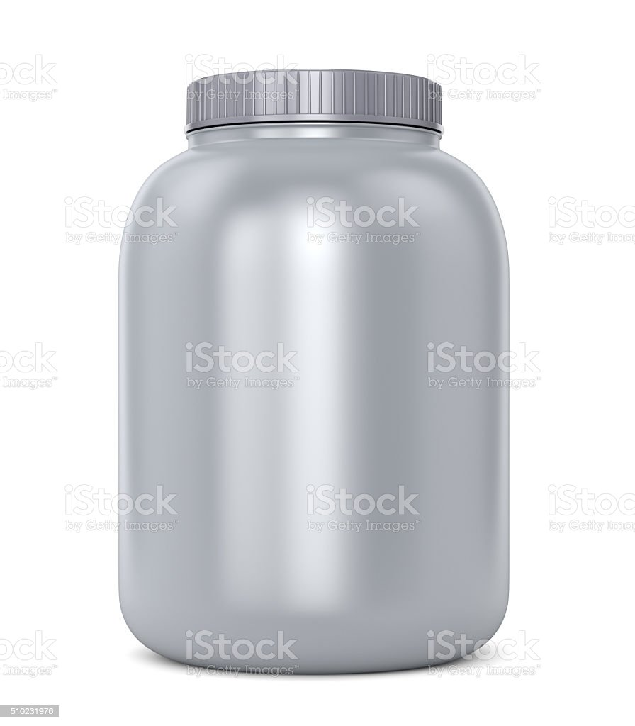 Gray protein jar stock photo