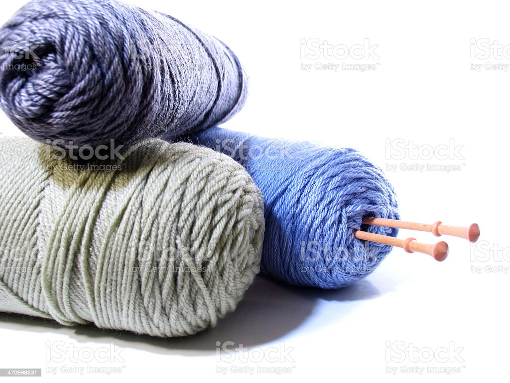 Gray Purple and Blue Yarn with Needles royalty-free stock photo