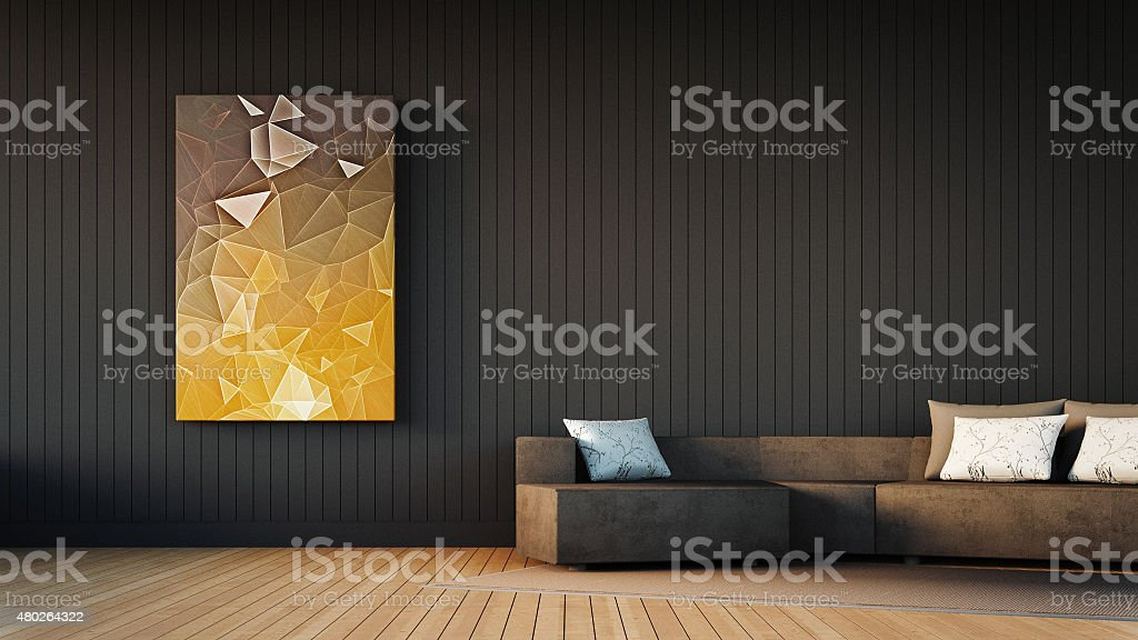 Gray sofa and art frame stock photo
