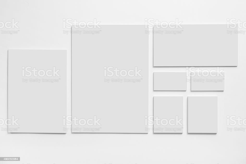 Gray stationery mock-up template on white background stock photo