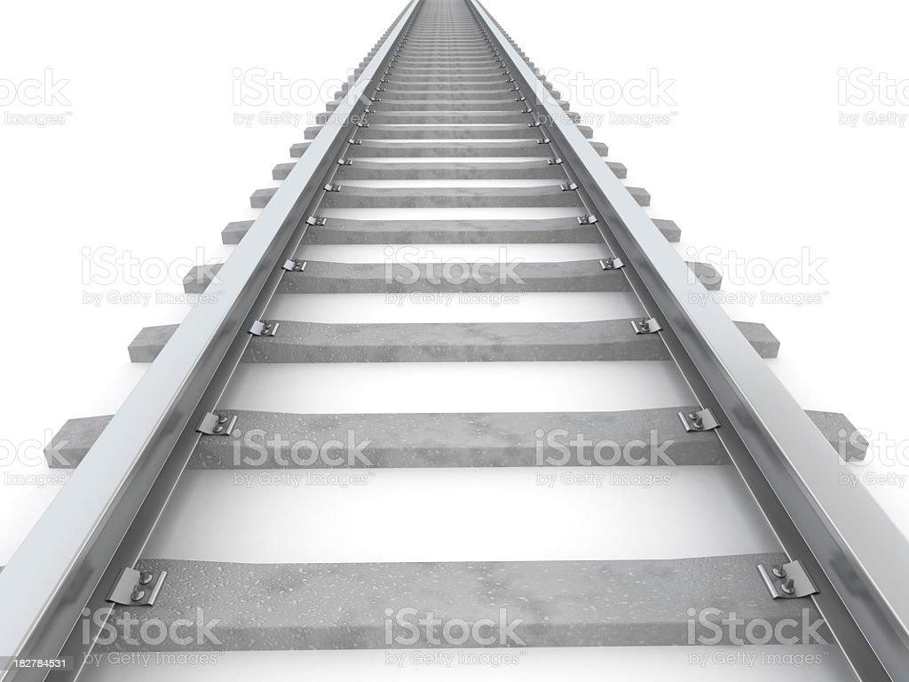 Gray stylized railroad track leading to horizon on white royalty-free stock photo