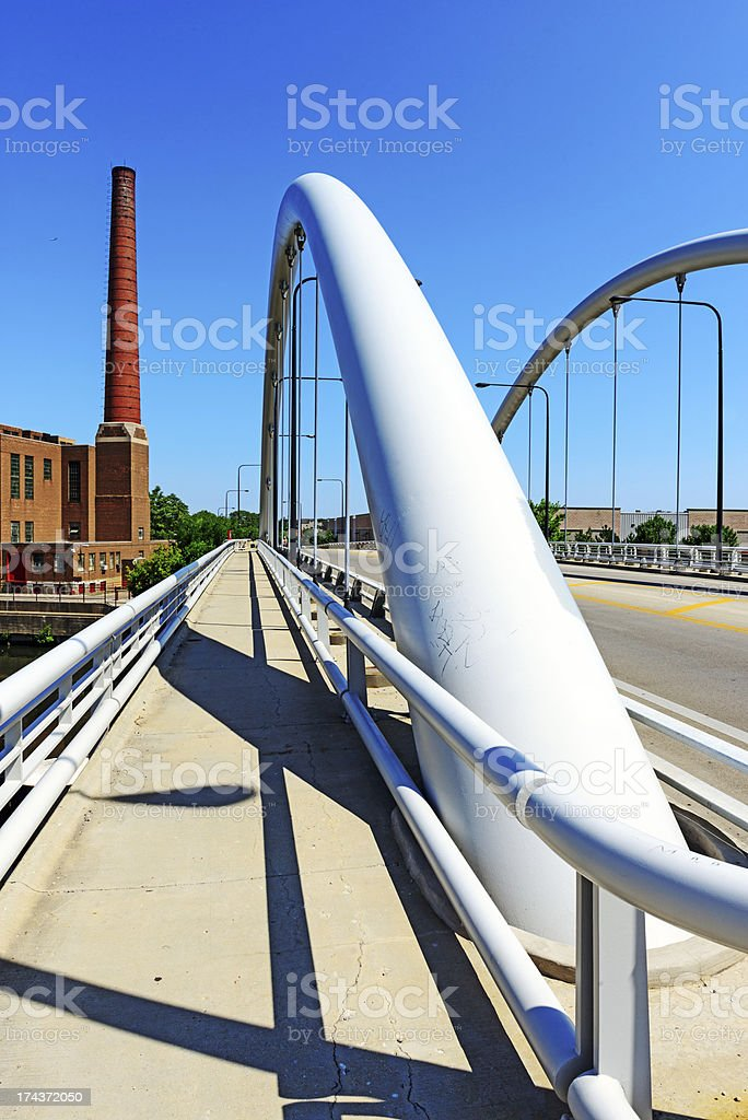 Gray suspension bridge in Chicago royalty-free stock photo