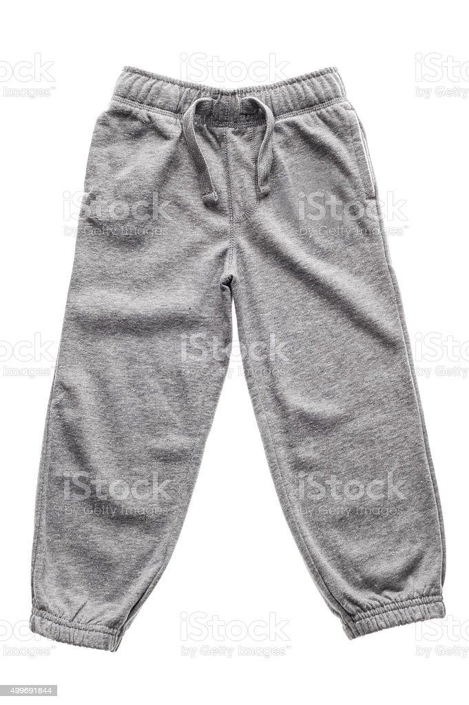 Gray sweatpants isolated stock photo