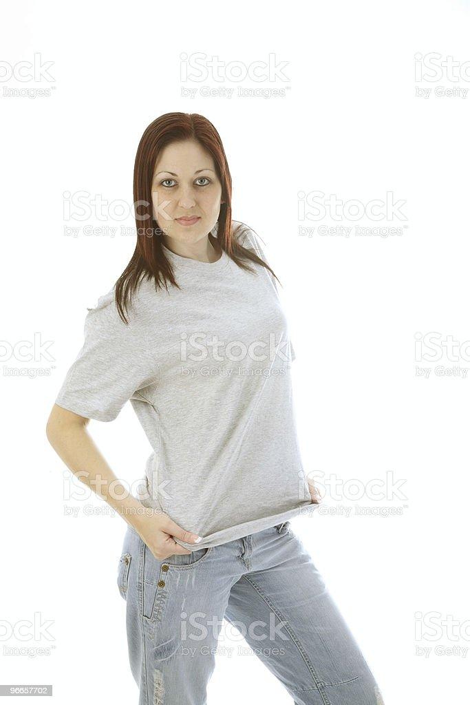 Gray t shirt girl stock photo
