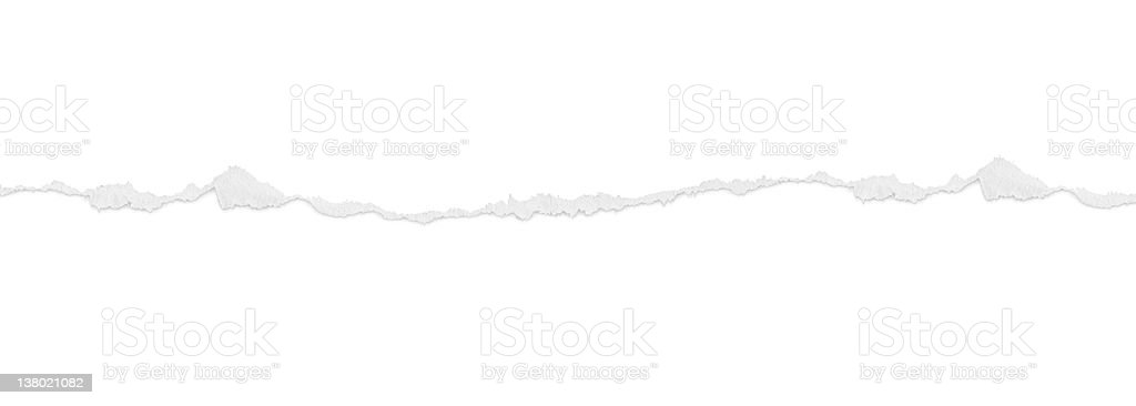 Gray tear across white background stock photo