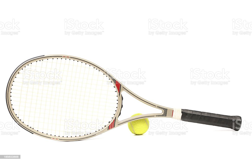 Gray tennis racket and yellow ball. royalty-free stock photo