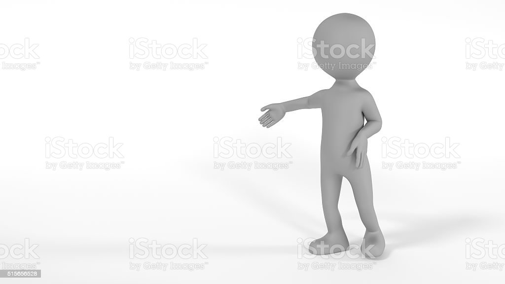 Gray textured character pointing with hand at emty space stock photo