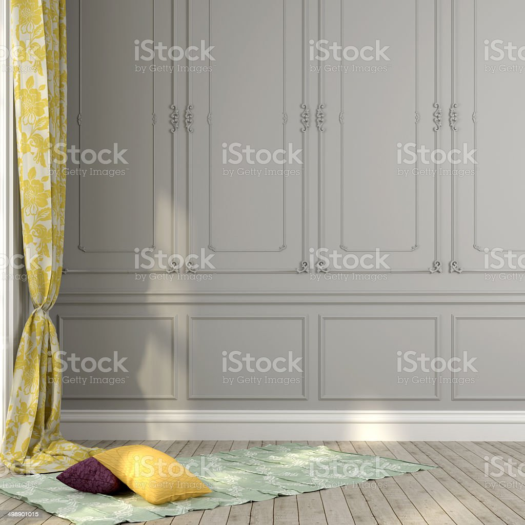 Gray wall and yellow décor stock photo