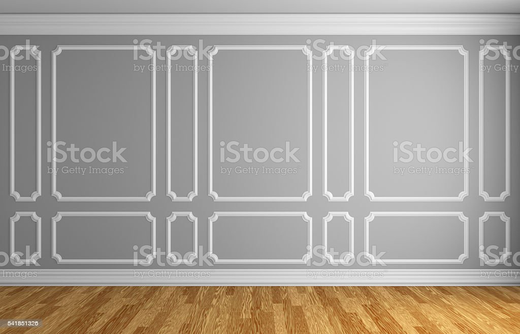 Gray wall in classic style room stock photo