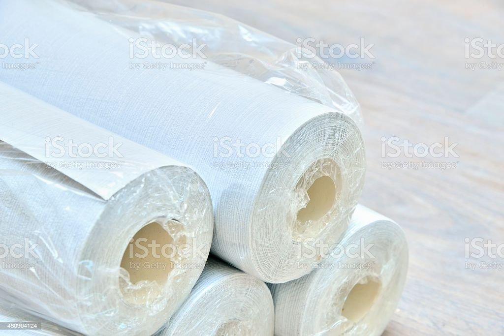 Gray wallpaper rolls stock photo