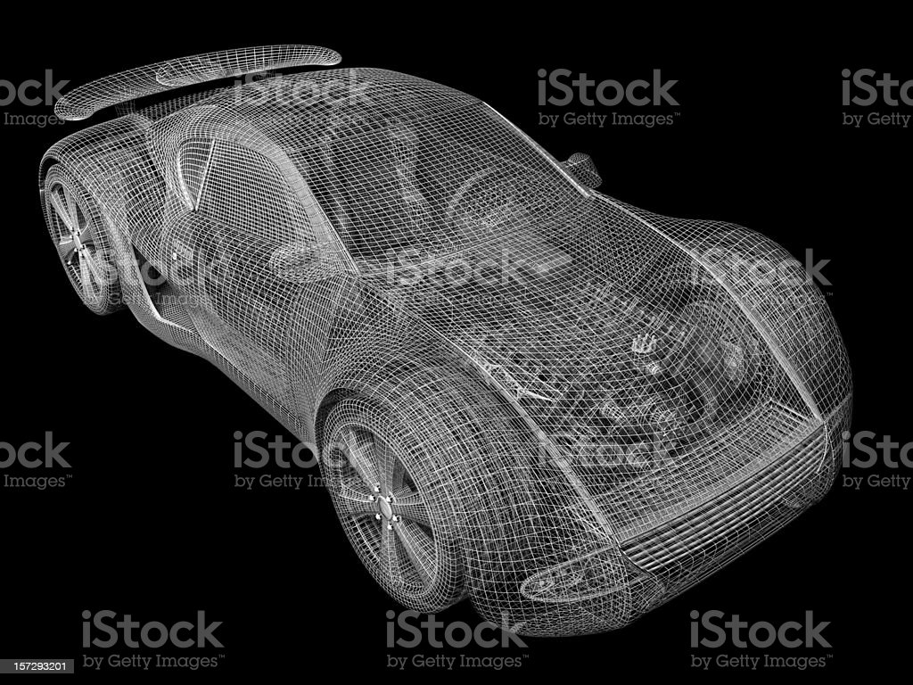 Gray wireframe of car on black background stock photo