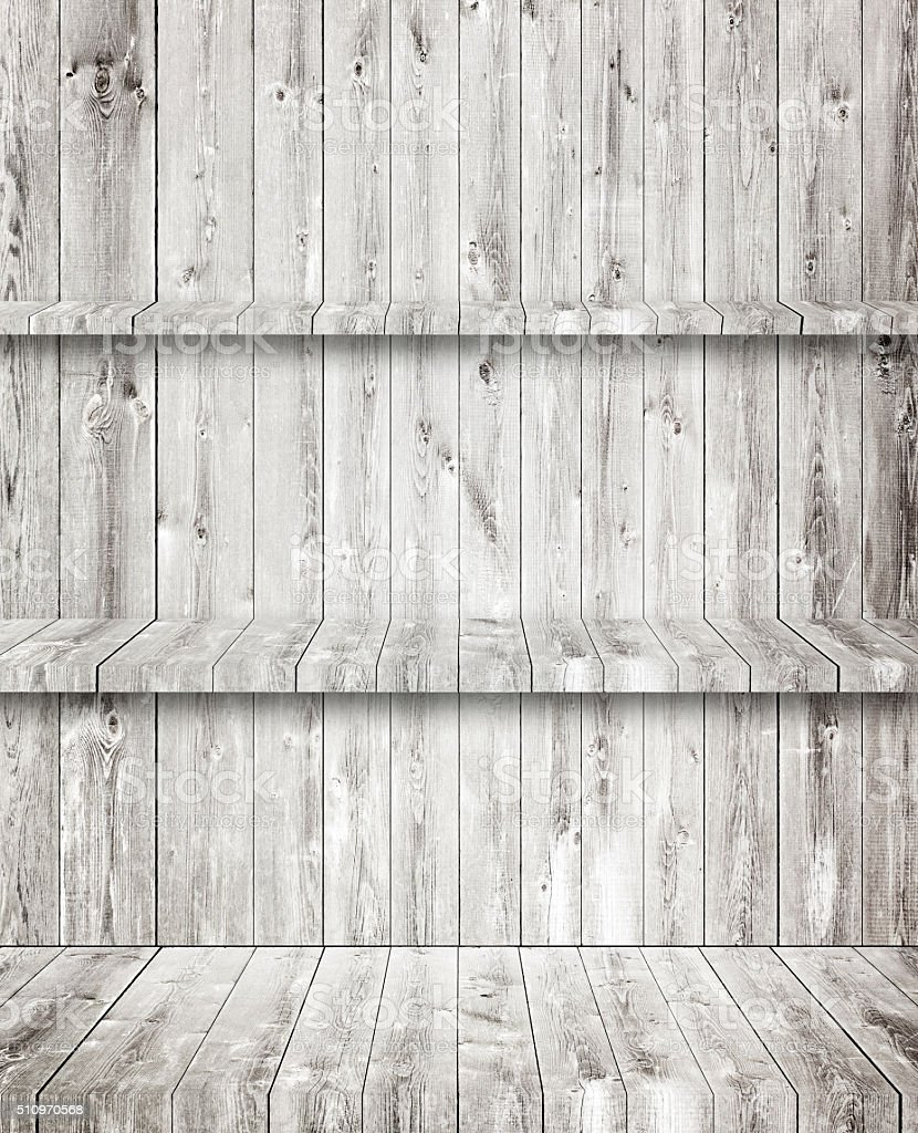 Gray wooden room, floor, wall and shelves stock photo