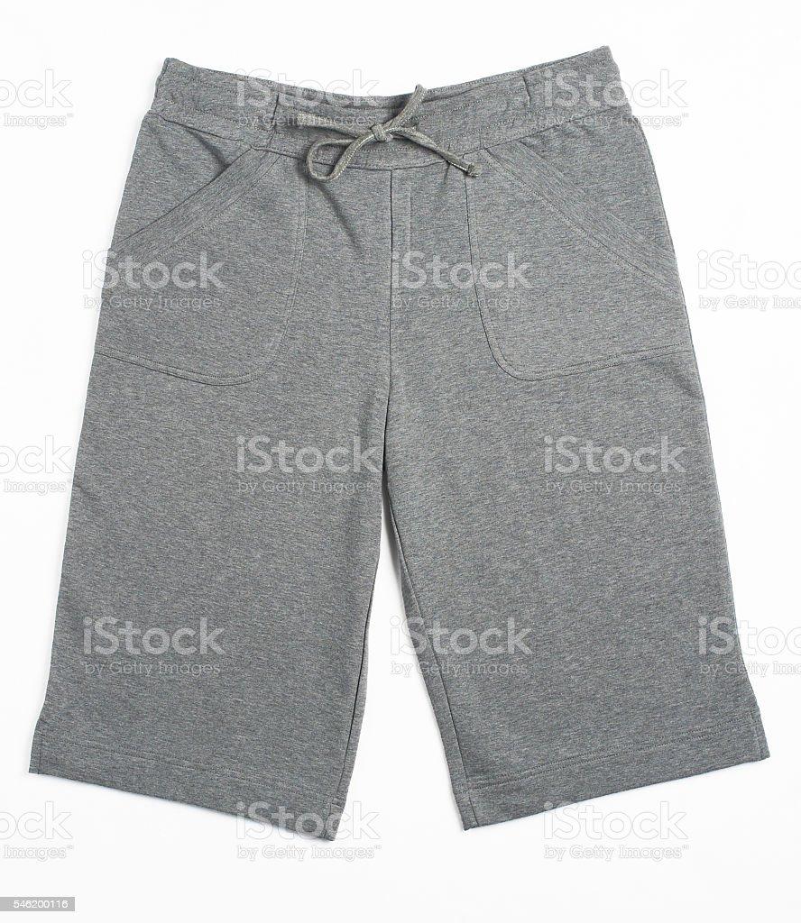 gray yoga sports shorts stock photo