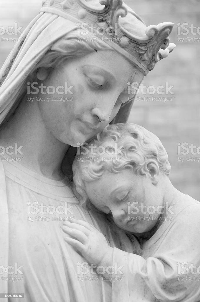 Gray-Scale Religious Statue stock photo