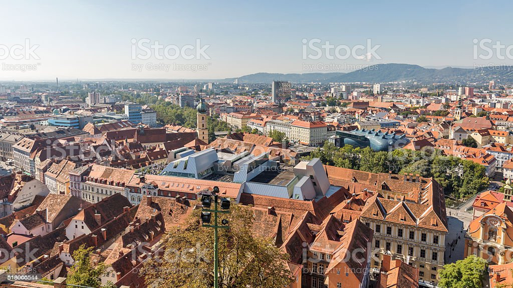 Graz aerial cityscape, Austria stock photo