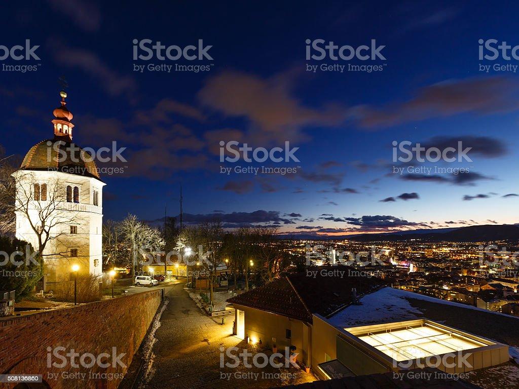 Graz city night view (Austria). stock photo
