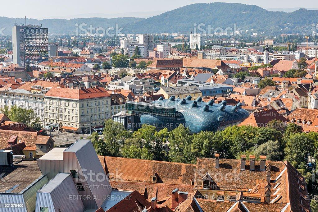 Graz downtown autumn aerial cityscape, Austria. stock photo