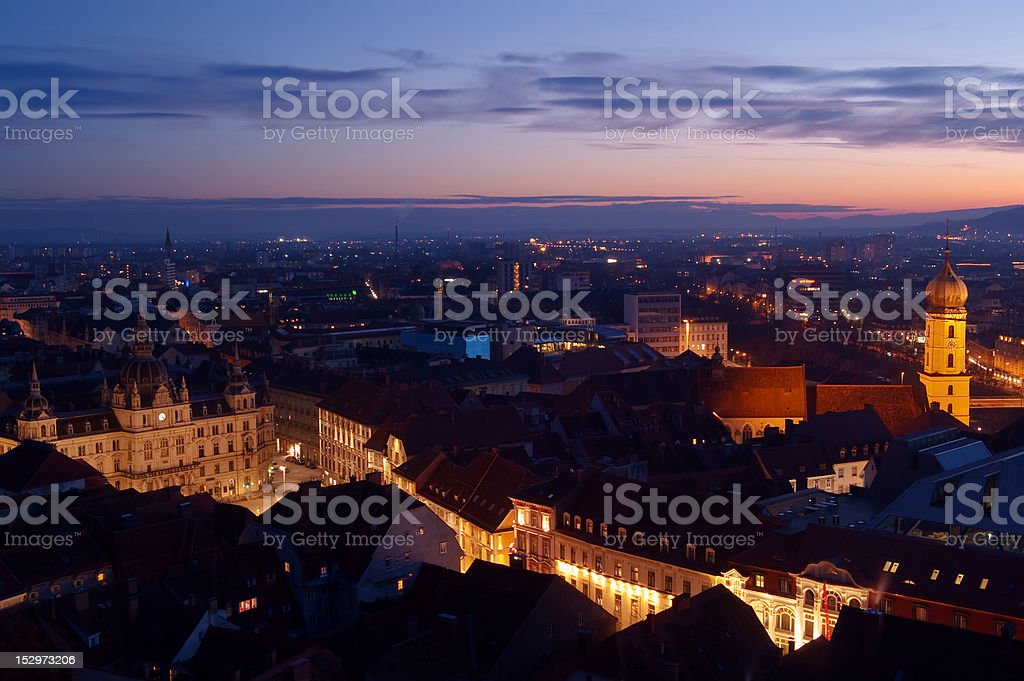 Graz in the dusk stock photo