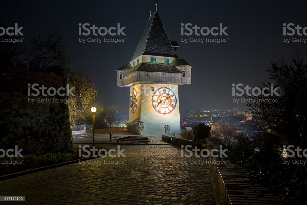 Graz, Schlossberg, night stock photo