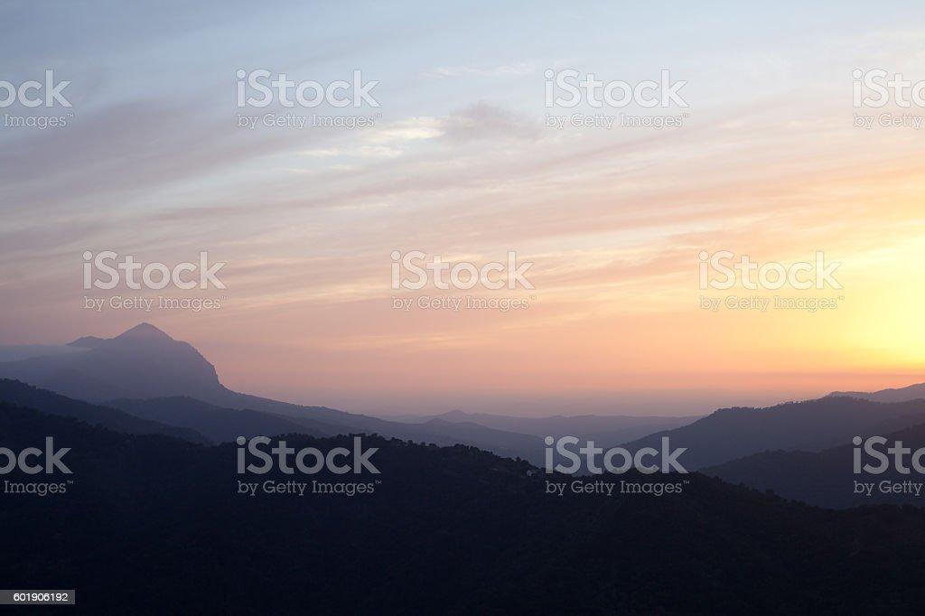 Grazalmea and Nieves  Mountains sunset in Spain   -  Genalguacil stock photo