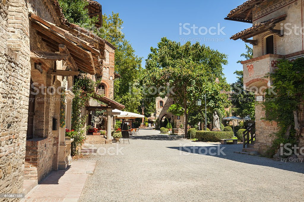 Grazzano Visconti village in Italy. stock photo