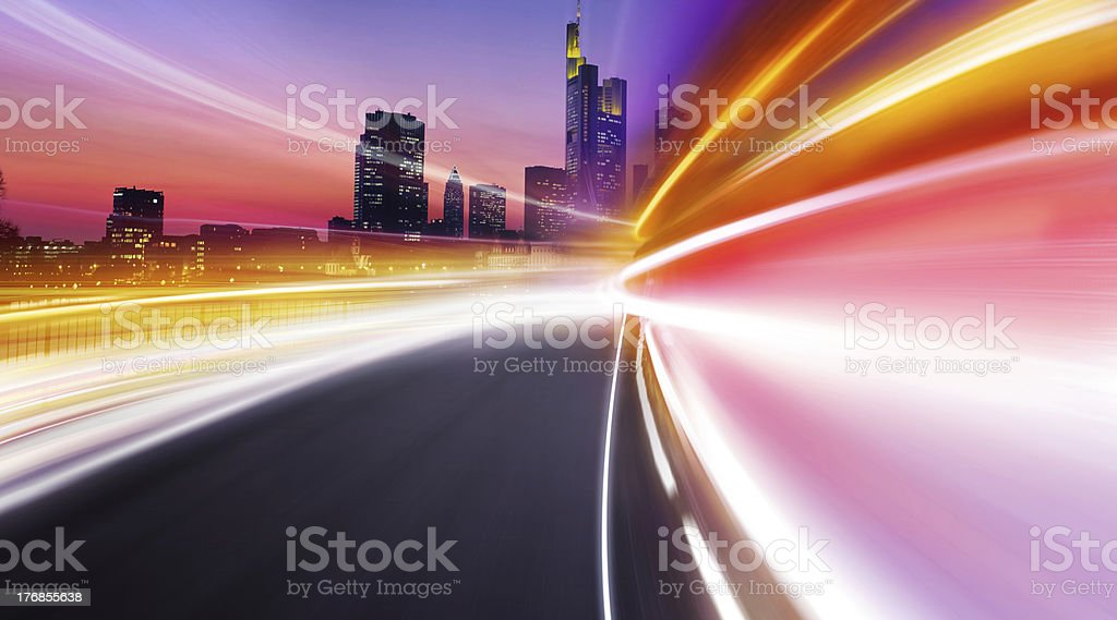 Greased light in hight city royalty-free stock photo