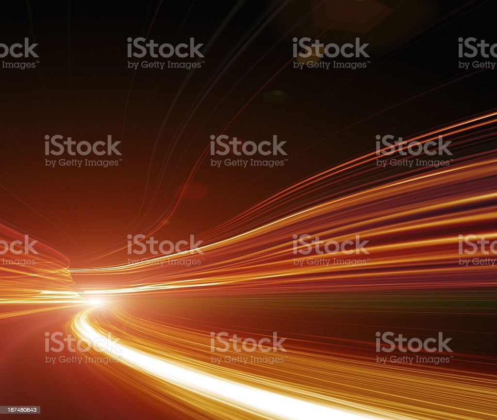 Greased light on high-speed highway of night city stock photo
