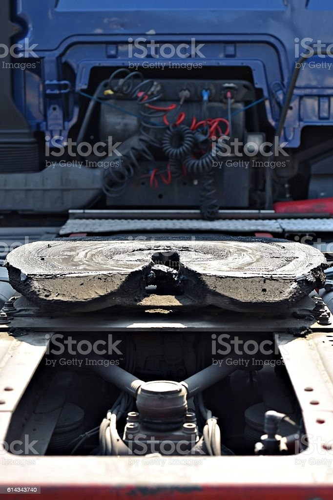Greased truck coupling mechanism stock photo