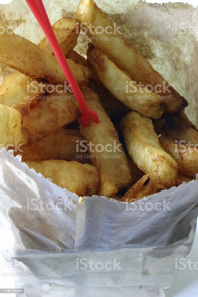 Greasy French Fries From the Chip Wagon stock photo