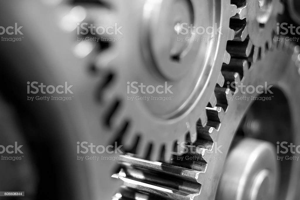 Greasy gears in the machine. stock photo