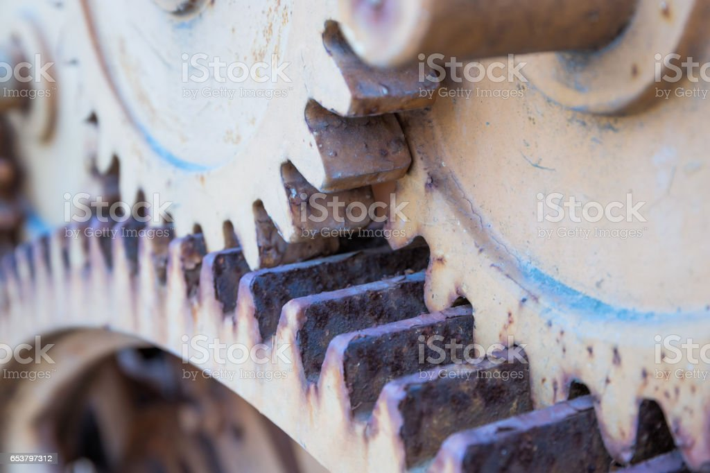 Greasy gears in the machine stock photo
