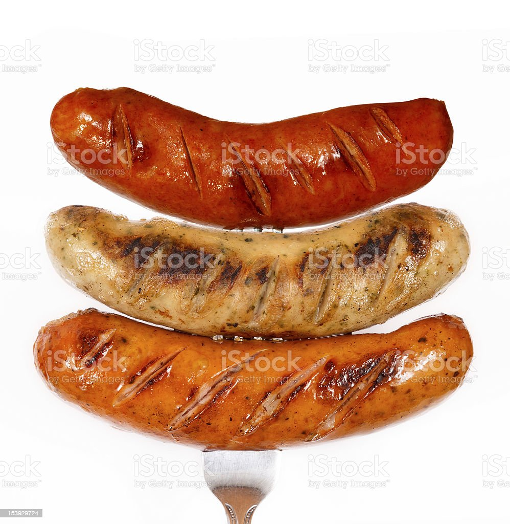 Greasy, grilled barbecue sausages stock photo