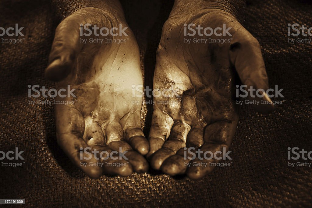 Greasy Hands royalty-free stock photo