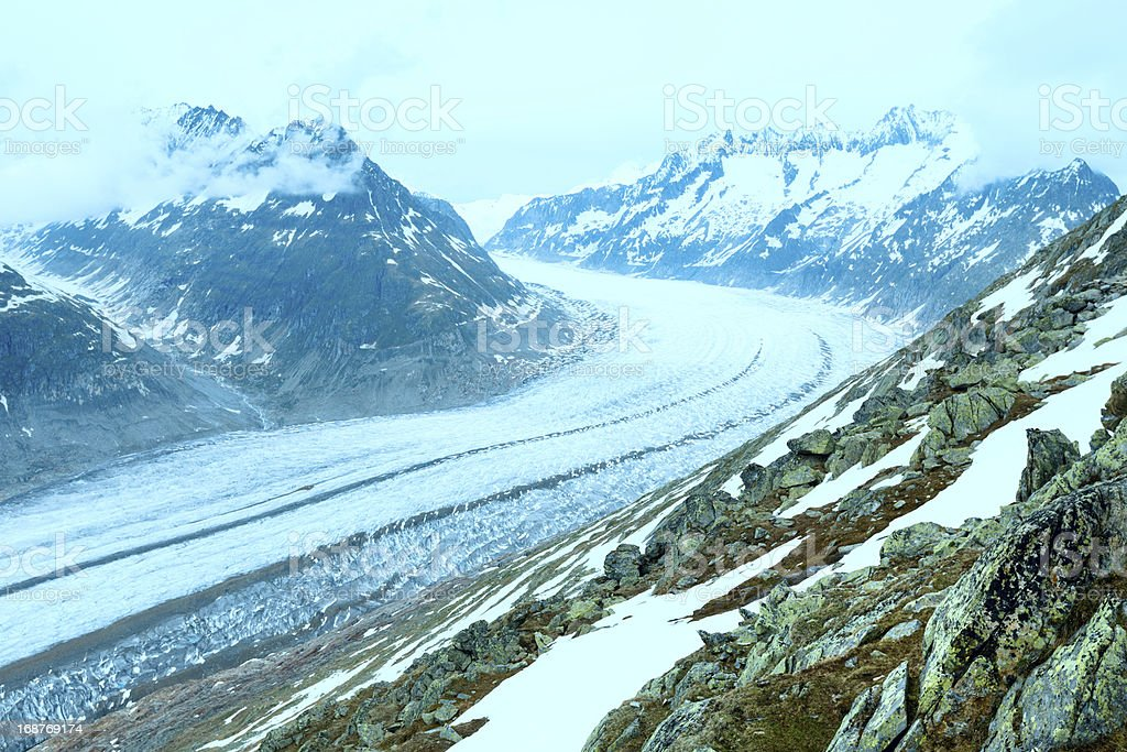 Great Aletsch Glacier (Bettmerhorn, Switzerland) royalty-free stock photo