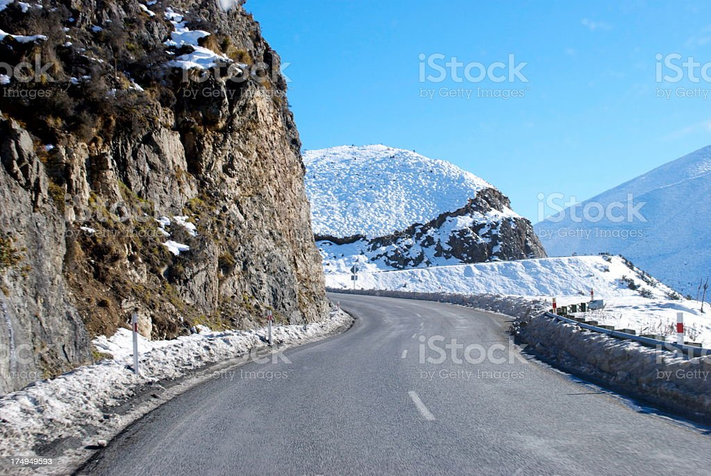 Great Alpine Highway Snowscene, New Zealand royalty-free stock photo