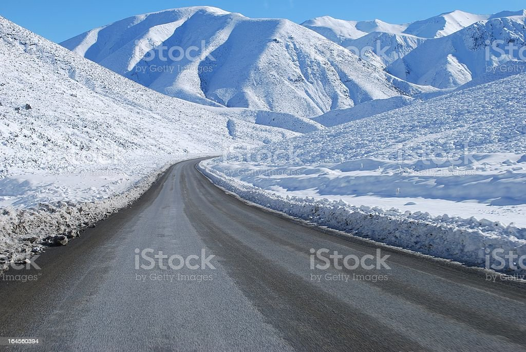 Great Alpine Highway Snowscene, NZ royalty-free stock photo