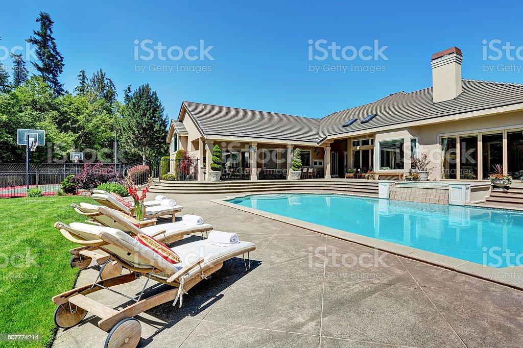 Great backyard with swimming pool .American Suburban luxury house stock photo