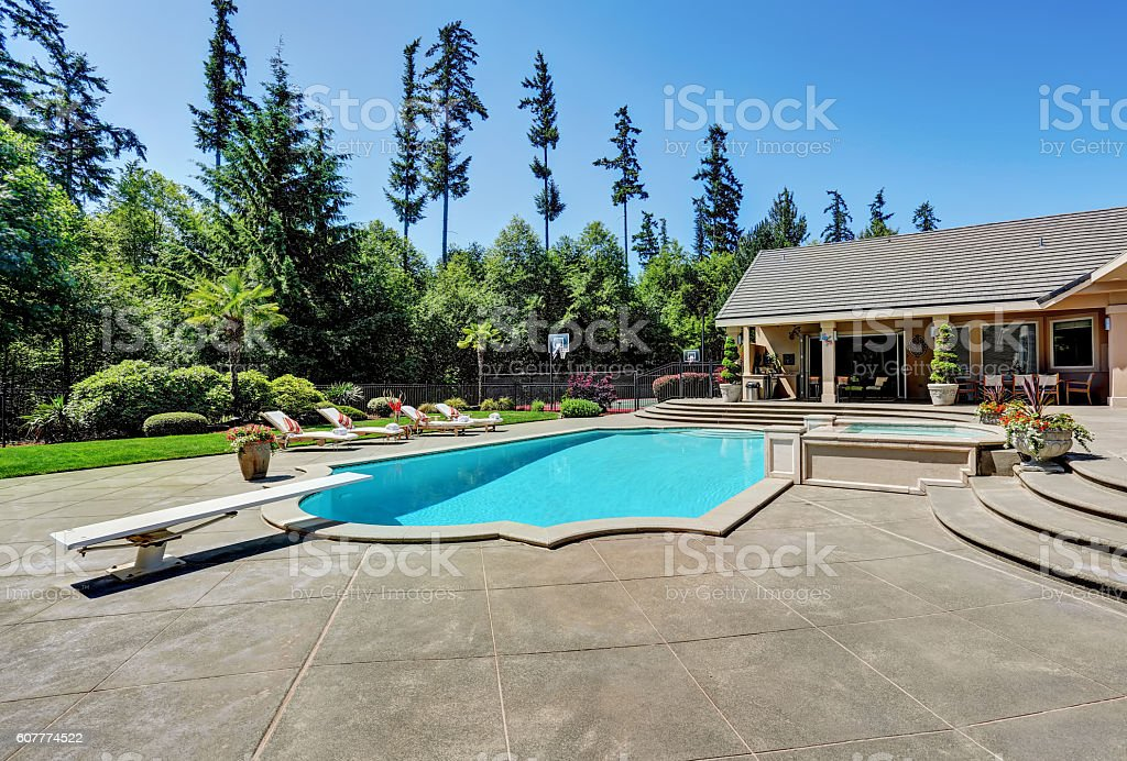 Great backyard with swimming pool . American Suburban luxury house stock photo