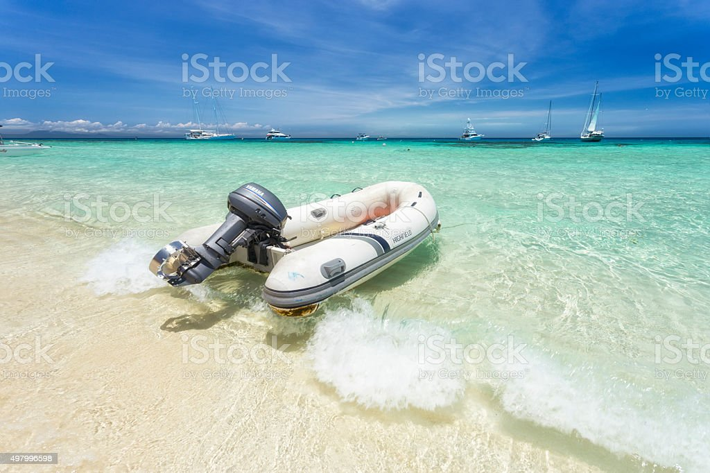 Great Barrier Reef boat stock photo